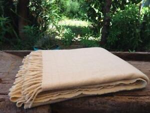 Vintage Neutral Pure Wool Plaid-Sofa Throw. Handmade in Portugal