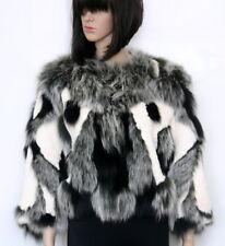 Alberto Makali Real Rabbit & Real Fox Fur Black/Ivory Cropped Jacket Size Large
