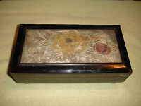 Vintage Japanese Wooden Musical Jewelry Box Metal Floral Top Mirror Interior