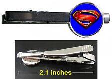 Superman Man Of Steel Tie Clip Clasp Bar Slide Silver Metal Shiny