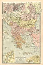 1908 LARGE VICTORIAN MAP ~ TURKEY IN EUROPE RUMANIA SERVIA MONTENEGRO GREECE