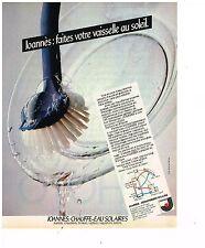 PUBLICITE ADVERTISING 054 1980  JOANNES  chauffe-eau solaire