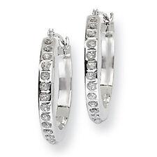 Ladies 14k White Gold Diamond Diamond Fascination Hinged Hoop Earrings 19.5mm