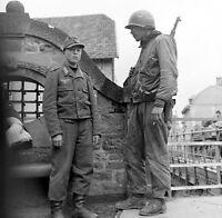 WW2 Photo WWII US Soldier Garand German POWS  Germany 1945  World War Two / 1432