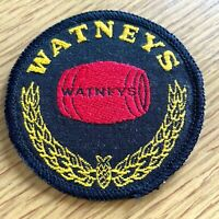 """1970s WATNEY'S RED BARREL BEER vintage sew-on patch BRITISH LAGER PALE ALE 3"""" in"""
