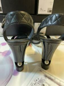 Auth CHANEL Pearl Matelass Slingback Patent Leather Sandals Black Size36.5 Used