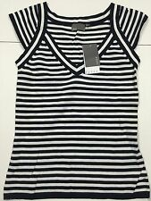 Cotton V-Neck Cap Sleeve Striped Tops & Shirts for Women