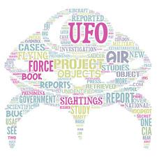 Enmarcado impresión: UFO Palabra Nube (Imagen Arte Antiguo Aliens el grises hormiga de personas)