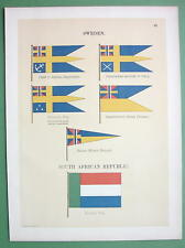 SWEDEN Naval Flags Admiral Commodore & S. Africa - 1899 Color Litho Print