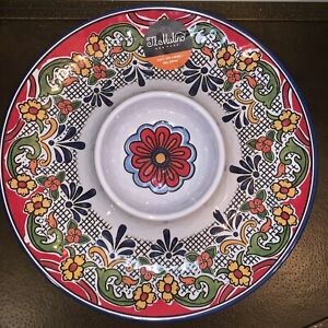 Il Mulino Red SPANISH Tile Medallion MELAMINE Chip And Dip Serving Tray Platter
