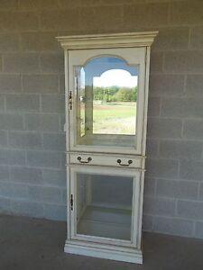 JASPER CABINET Hollywood Regency Paint Decorated 2 Door Lighted Curio Cabinet
