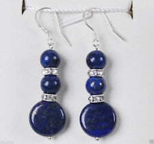 Beautiful Freshwater  blue lapis lazuli Silver hook Earrings