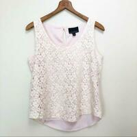 Cynthia Rowley Women's Lace Tank Top Size M Floral Overlay Keyhole Cream & Pink