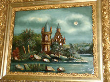 antique reverse castle painting on glass