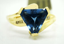 BLUE  ZIRCON 3.27 Cts & DIAMOND RING 10K GOLD  ** New With Tag **