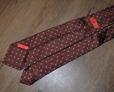 Isaia Seven Fold Maroon Blue Pin Dot Polka Tie Mint Condition 100% Silk Italy