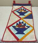 Vintage Quilt Wall Hanging, Basket, Calico Prints, Vivid Colors, Red, White Blue