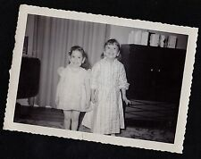 Old Vintage Antique Photograph Two Adorable Little Girls Wearing Cute Outfits