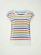 Hip Length Cotton Cap Sleeve Striped Tops & Shirts for Women