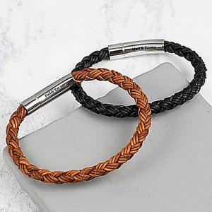 Personalised Bracelet Engraved Black, Brown Bracelet Gift