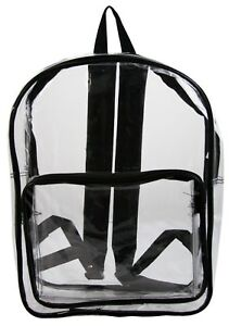 All Clear Vinyl Backpack, transparent for security TSA, Sporting Events