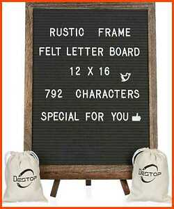 """Felt Letter Board W Rustic Vintage Frame & Stand 12X16"""" Dark GREY Changeable Mes"""