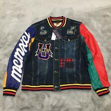 New Smoke Rise Distressed Denim Varsity Jacket Mens Size Large Blue / Multi