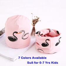Winter Autumn Baby Hat Scarf Children Caps Collars Swan Print Girls Beanie 2pcs