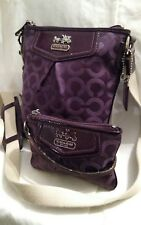 COACH Madison Dark Purple Op Art Sateen Messenger Bag & Wristlet RARE Set