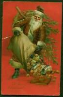 CHRISTMAS EMB PC SANTA WITH BAG OF TOYS GOLD TRIM HAS SPLIT