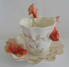 1 sets of Fish Porcelain Coffee / Tea Cup Set (3pcs/set) for Daily Use,gift. Red