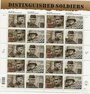 2000 33 cent Distinguished Soldiers full Sheet of 20, Scott #3393-3396, Mint NH