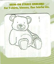 Teddy - Großes Strassstein - Motiv zum Aufbügeln - Bärchen - silber - Bügelbild