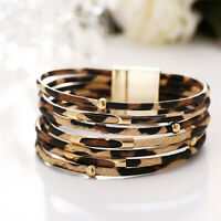Women Multilayer Leopard Bracelet Fashion Magnetic Clasp Bangle Wristband Cuff