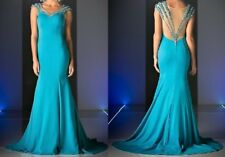 NWT Aqua Blue Off Shoulder Beaded Prom Evening Pageant Cruise Dress Size 10