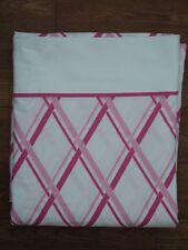 TOMMY HILFIGER Pamela pink white Lattice Plaid Flat Sheet Twin Size NEW