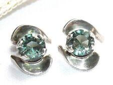 Vintage 925 Sterling Silver Prasiolite Green Amethyst Pierced Stud Earrings Big