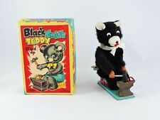 Black Smith Teddy bear Wind Up toy T.N. Japan with Original Box WORKS blacksmith