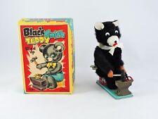 Black Smith Teddy bear Wind Up toy T.N. Japan with Original Box WORKS blacksmith