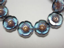 12 beads - Sapphire Blue with Copper Czech Glass Flower Beads 12mm