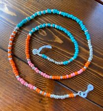 EYEGLASS CHAIN HOLDER - Aqua Teal, Orange, Coral and Silver Glass Seed Beads