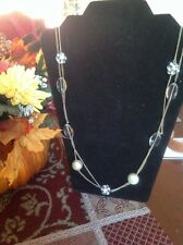 J Crew 32 In Gold Tone Necklace Multi Strand Rhine Crystal And Faux Pearl.