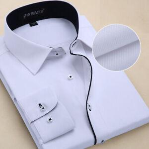 New Mens Dress Shirts Long Sleeve Formal Casual Business Work Camisas Shirts Top