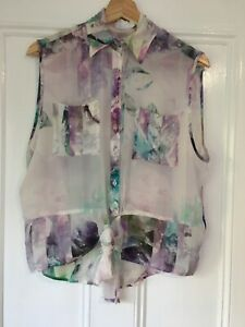 Talulah size XS Silk Purple Abstract print button front sleeveless blouse