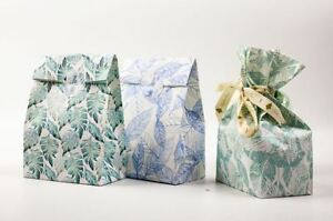 Paper Carrier Present Gift Bags Leaf Stickers Christmas Wedding Birthday x4