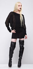 *Lip Service Widow Gothic Sheer Rayon Chiffon Big Sleeve Jersey Dress Chic S