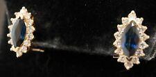 Heavy 14K yellow gold 2.34CT diamond & Blue sapphire cluster earrings