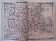 Hand Colored Map Johnson's Atlas Massachusetts Connecticut Rhode Island 1863