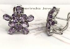 .925 Sterling Silver Cluster Flower Omega Back Earrings, Natural Amethysts 8TCW