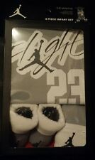 NIKE JORDAN BABY BOY 23 PIECE SET BODYSUIT/BOOTIES/HAT 0-6M GREY WHITE BLACK